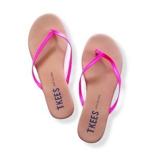 TKEES Hot Pink 'Pop Colors'' Thong Flip Flop Sandals
